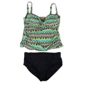 20W New Chevron Bikini Two Piece Set Green